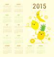 Calendar 2015 fruit cute cartoon banana pineapple vector image