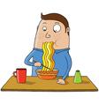 Eating noodles cartoon vector image