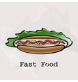 Hot dog in a watercolor style vector image