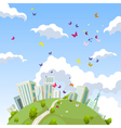 cartoon round the land with houses in the summer vector image