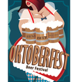 Poster with woman at Oktoberfest vector image