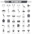 Pet animal black icon set Dark grey vector image