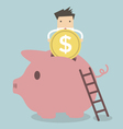 Businessman putting coin into piggy bank vector image