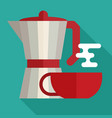 italian coffee maker and cup flat icon vector image