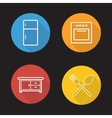 Kitchen flat linear icons set vector image