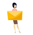 smiling business woman holding a big envelope vector image