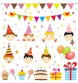 Set of birthday party elements with cute kids vector image