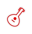 paper sticker Indian musical instrument on white vector image