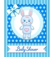 Baby shower hare postcard blue banner vector image