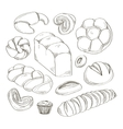 Bakery and pastry products icons set vector image