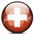 Map on flag button of Switzerland Swiss vector image