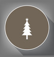 new year tree sign white icon on brown vector image