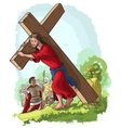 jesus christ carrying cross vector image