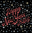 2016 Happy New Year black background snow vector image