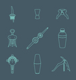 outline icons barman instruments set vector image vector image