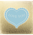 vintage ornamented gift card with heart shaped spa vector image vector image