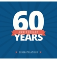 60 year anniversary card poster template vector image