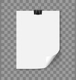 White paper sheet with curled corner vector image