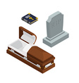 burial set Open wood coffin with dead Holy Bible vector image