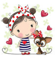 cute cartoon puppy and a girl vector image