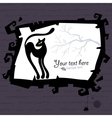 Halloween template with black cat vector image