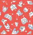 seamless pattern with dogs on red background vector image
