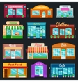 Shops and stores front icons set flat style vector image