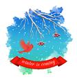 Watercolor Splash Winter Landscape vector image