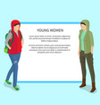 young women poster with place for text vector image