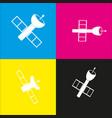 satellite sign   white icon vector image