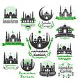 ramadan kareem greeting icons set vector image vector image