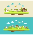 Set of flat design compositions with farm animals vector image