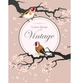 Vintage card with blooming cherry vector image
