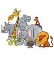 cartoon safari animals group vector image