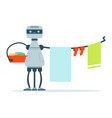 housemaid android character hanging out laundry vector image
