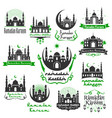 ramadan kareem greeting icons set vector image
