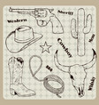 hand drawn cowboy retro vintage elements vector image