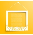 white frames on the yellow wall vector image