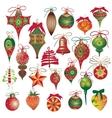 Big set vintage holiday Christmas and New Year vector image
