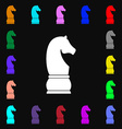 Chess knight icon sign Lots of colorful symbols vector image
