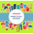 Set with color womens clothes and accessories vector image