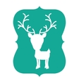 silhouette frame green with reindeer vector image