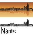 Nantes skyline in orange background vector image