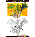 comic vegetables group for coloring book vector image vector image