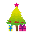 tree and gifts cartoon isolated over white backgro vector image