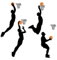 Black silhouettes of men playing basketball on a vector