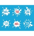 milk emblems or dairy labels with splashes vector image vector image
