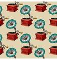Retro gramophone seamless pattern vector image