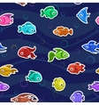 Seamless pattern with cute colorful fishes vector image