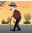 senior man walking with a cane vector image